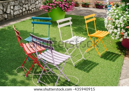 Colored garden chairs
