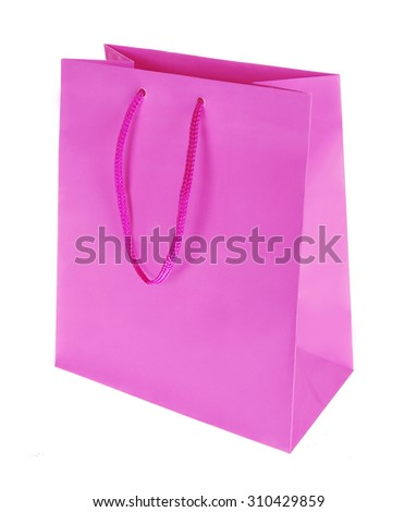 colored gift bag on a white background