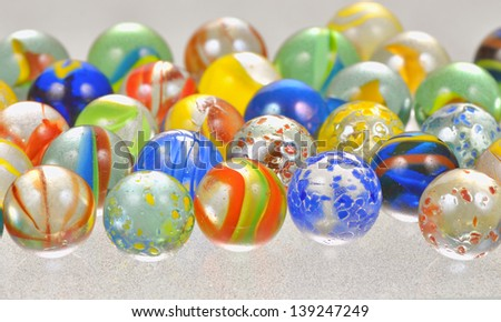 colored glass balls shoot in studio - stock photo