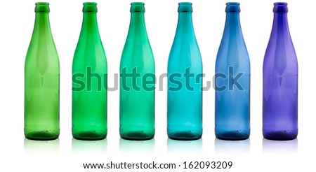 colored glass bottles - stock photo