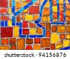 Colored glass-ceramic tiles on the wall - stock photo
