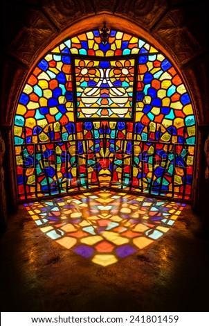 Colored Glass reflection | Moussa Castle, Deir al Qamar | Lebanon  - stock photo