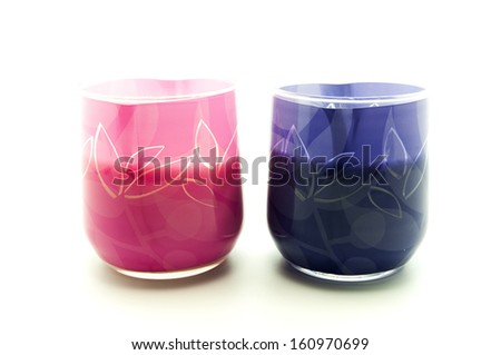 colored glasses on a white background