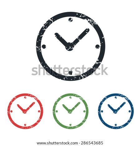 Colored grunge icon set with image of clock, isolated on white - stock photo