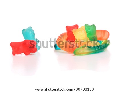 Colored gummy bears, isolated over white background