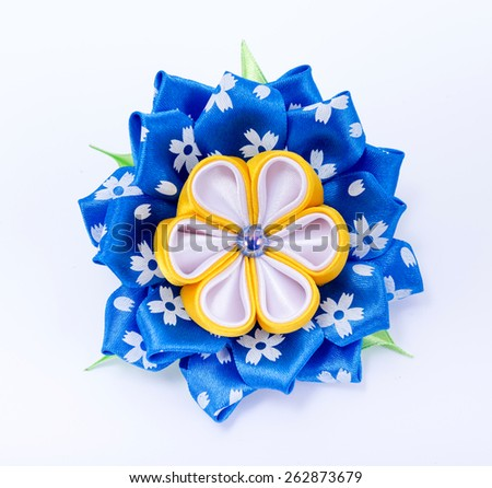 Colored hair clip on a white background - stock photo