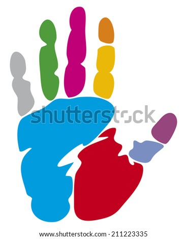 colored hand print (colorful hand print) - stock photo