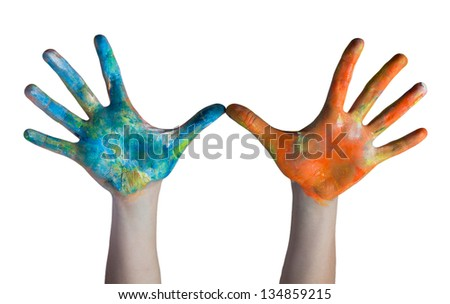 colored hands - stock photo