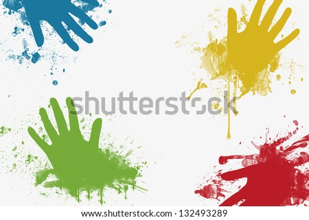 Colored Hands background with space for text - stock photo