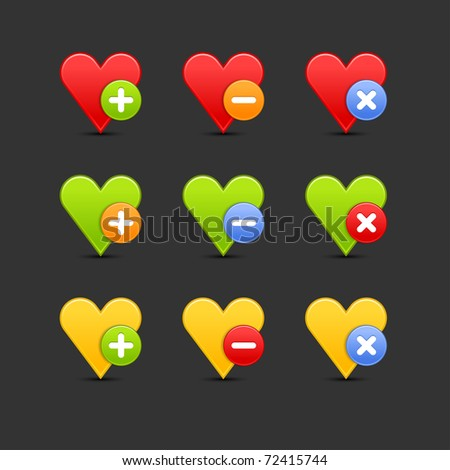 Colored heart favorite icon web 2.0 button with shadow on gray. Bitmap copy my vector ID: 62266681