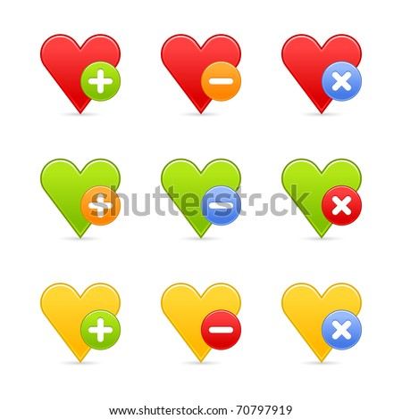 Colored heart favorite web 2.0 button with shadow. White background. Bitmap copy my vector ID: 54202861