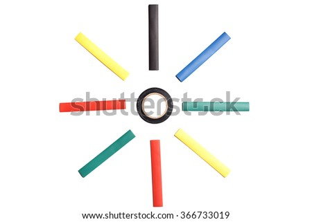 Colored heat shrink tubing surrounding insulation tape