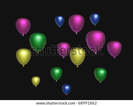 Colored holiday balloons on the black background.