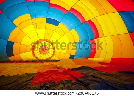 colored hot air balloon view from inside - stock photo