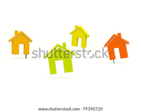 Colored house pins isolated on white background