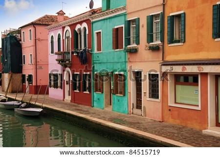 Colored houses and canals in Burano: Venice