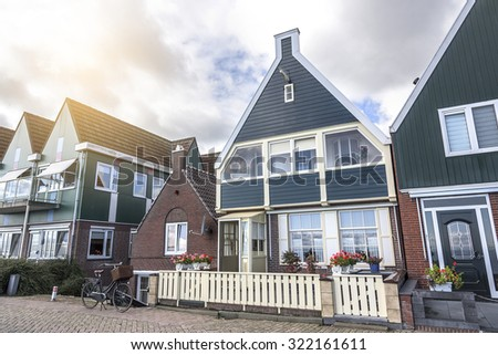 Colored houses of  Volendam, a picturesque village in the Netherlands.