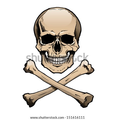 Colored human skull and crossbones. - stock photo