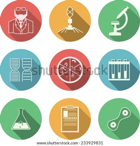 Colored icons for bacteriology. Set of colored circle icons with black silhouette symbols for bacteriology on white background. - stock photo