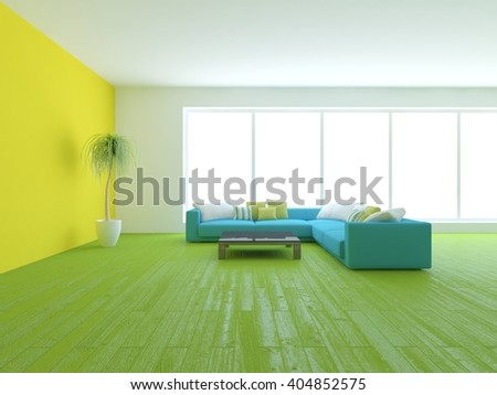 Colored interior design of modern house with blue sofa - 3d illustration - stock photo