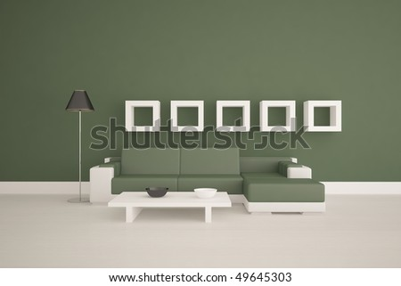 colored interior with frames on a wall