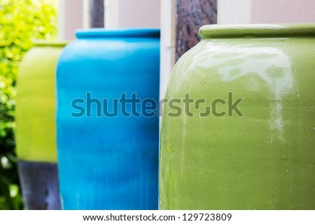 Colored jars - stock photo