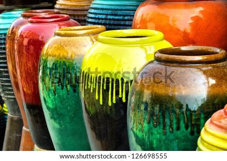 Colored jars Colored jars design handicraft design object design object design retro design interiors design decoration design