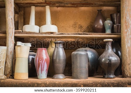 Colored jars earthenware - stock photo