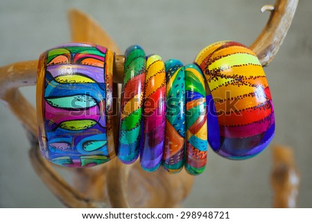 Colored jewelry bracelets. Hand-made in the Latin American style - stock photo