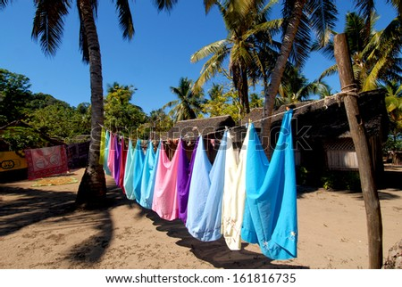 Colored landry hang up in a village of Nosy Iranja island, in Madagascar
