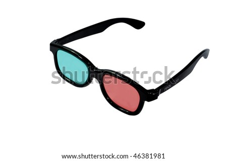 Colored lens 3d cinema glasses isolated