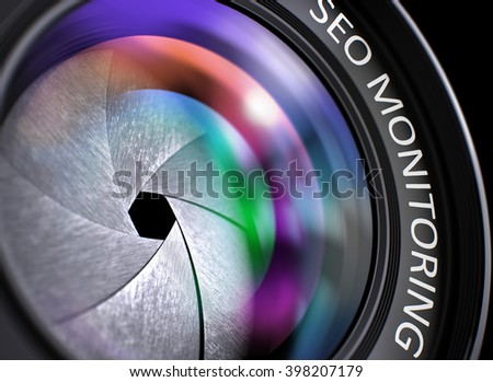 Colored Lens Reflections Closeup on Digital Camera Lens  with Inscription SEO Monitoring. Closeup Lens of Camera with Colorful Reflection and Inscription SEO Monitoring. 3D Render. - stock photo