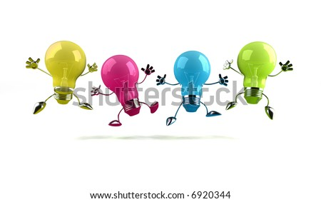 Colored light bulbs - stock photo