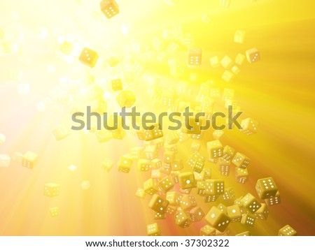 Colored light 3d dice pile abstract, horizontal background - stock photo