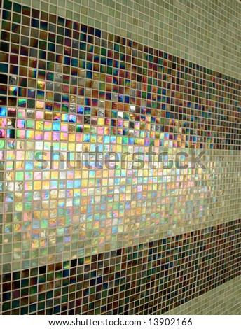 Colored light on a tile wall - stock photo