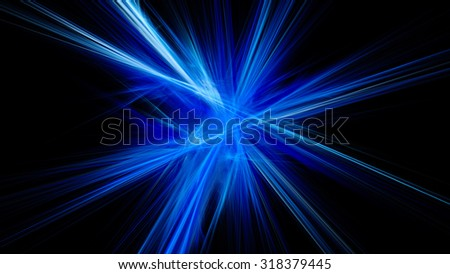 Colored light rays. The refraction of light. A bright flash. Abstract image. Fractal Wallpaper on your desktop. Digital artwork for creative graphic design. Dark background. - stock photo