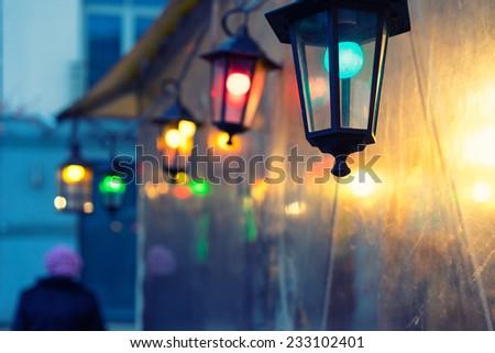 Colored lights on Christmas Fair. Riga, Latvia - stock photo