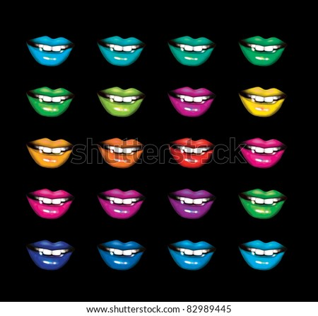 colored lips in pop art style
