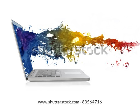 Colored liquid coming out of a laptop - stock photo