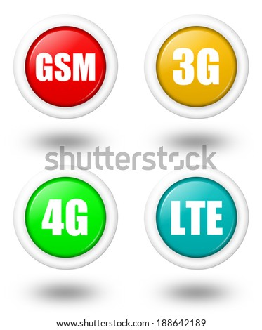 Colored LTE, 4G, 3G and GSM telecommunication icon set with shadow - stock photo