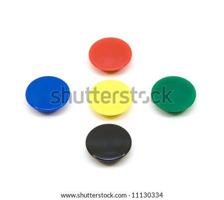 Colored magnet on white