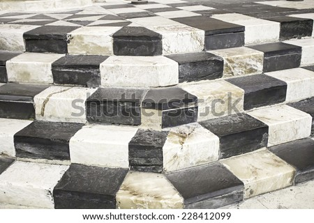 Colored marble stairs black and white, building - stock photo