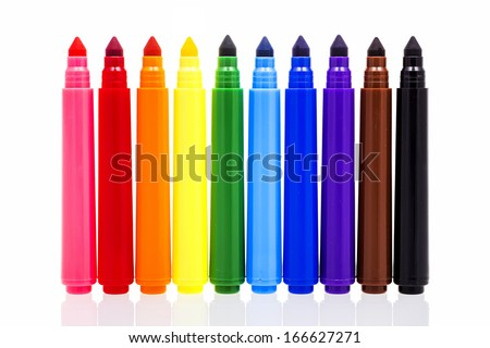 Colored markers isolated on white background - stock photo