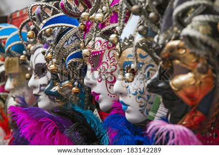 colored mask at carnival in Venice,Italy - stock photo