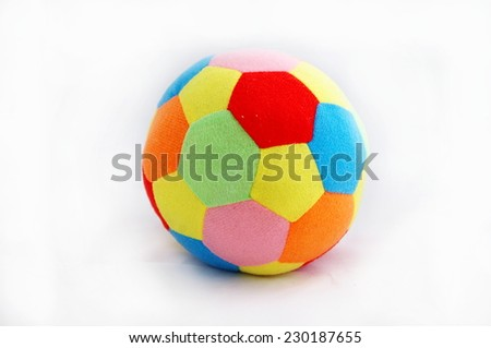 Colored material inflatable ball isolated on white background  - stock photo