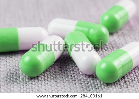 colored medical capsule