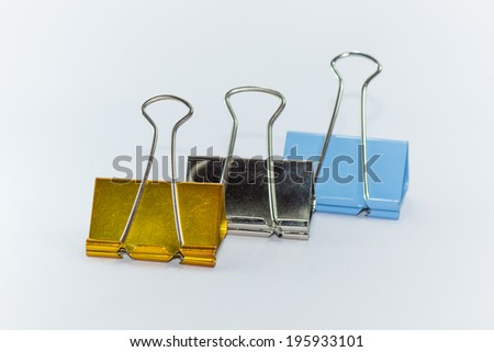 Colored  metal clips. Uses for a paper clip and appliances. - stock photo