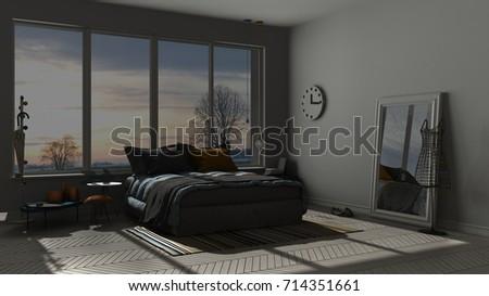 Colored Modern Blue And Orange Bedroom With Big Panoramic Window Sunset Sunrise Night