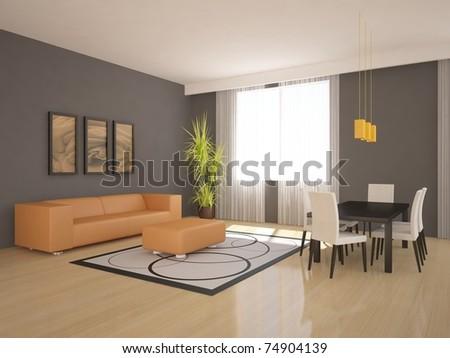 colored modern interior - stock photo
