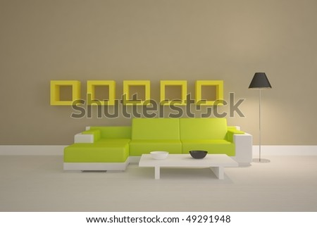 colored modern interior with frames on a wall